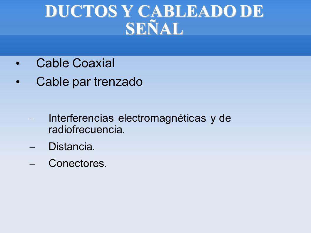 DUCTOS Y CABLEADO DE SEÑAL Cable Coaxial Cable par trenzado – Interferencias electromagnéticas y de radiofrecuencia. – Distancia. – Conectores.