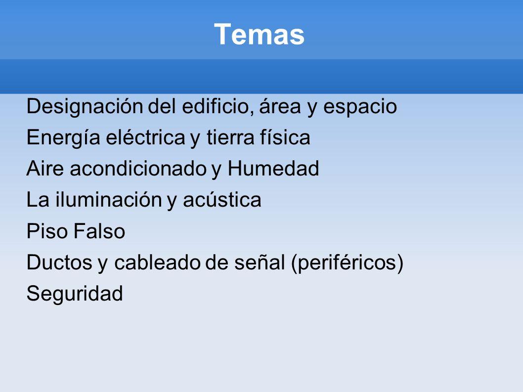 Temas Designación del edificio, área y espacio Energía eléctrica y tierra física Aire acondicionado y Humedad La iluminación y acústica Piso Falso Duc