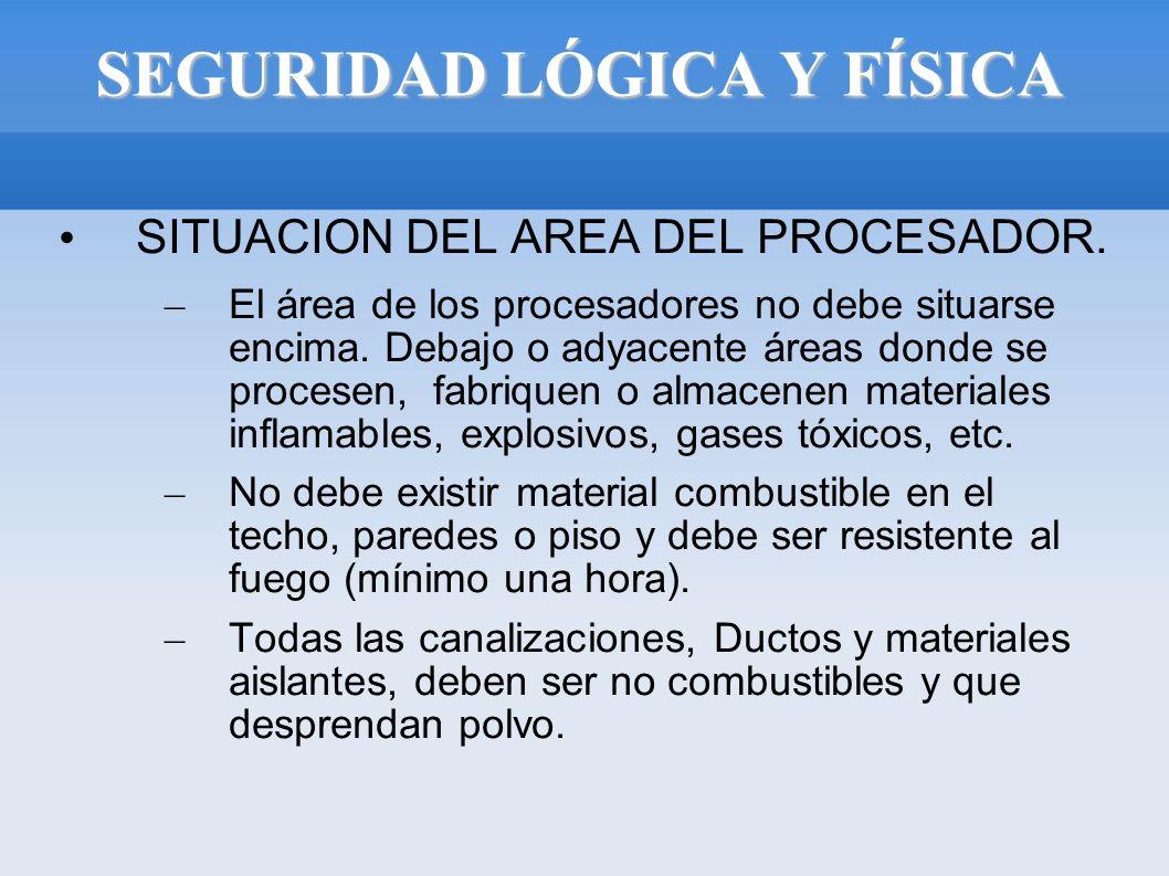 SEGURIDAD LÓGICA Y FÍSICA SITUACION DEL AREA DEL PROCESADOR. – El área de los procesadores no debe situarse encima. Debajo o adyacente áreas donde se