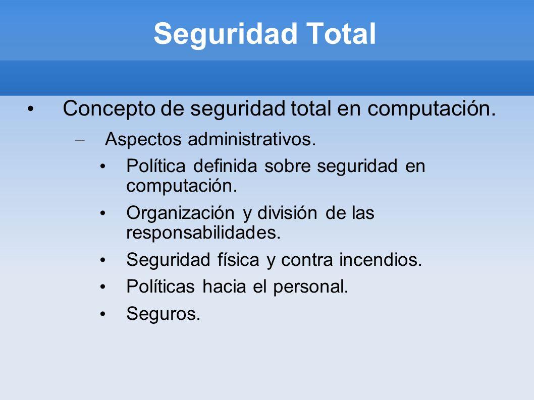Seguridad Total Concepto de seguridad total en computación. – Aspectos administrativos. Política definida sobre seguridad en computación. Organización