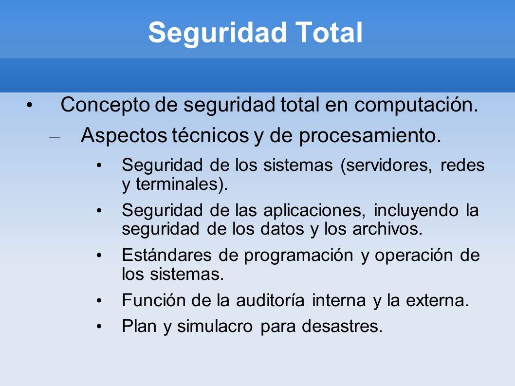 Seguridad Total Concepto de seguridad total en computación. – Aspectos técnicos y de procesamiento. Seguridad de los sistemas (servidores, redes y ter