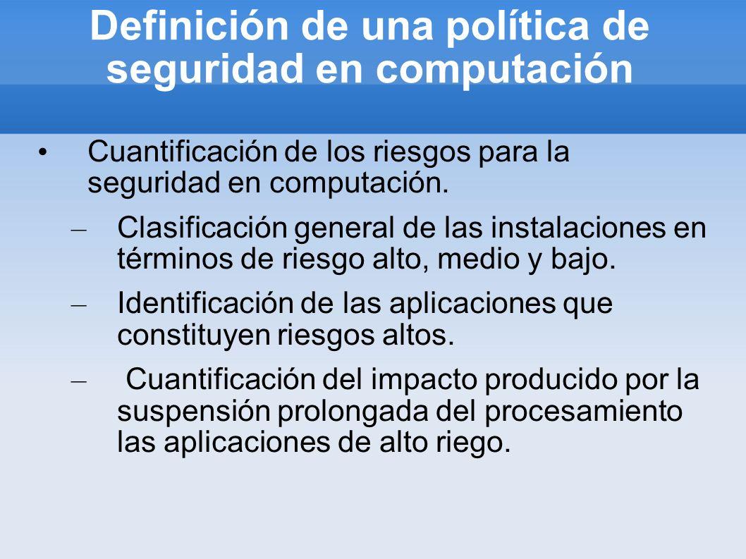 Definición de una política de seguridad en computación Cuantificación de los riesgos para la seguridad en computación. – Clasificación general de las