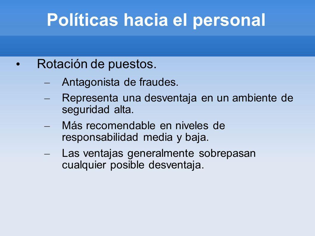 Políticas hacia el personal Rotación de puestos. – Antagonista de fraudes. – Representa una desventaja en un ambiente de seguridad alta. – Más recomen