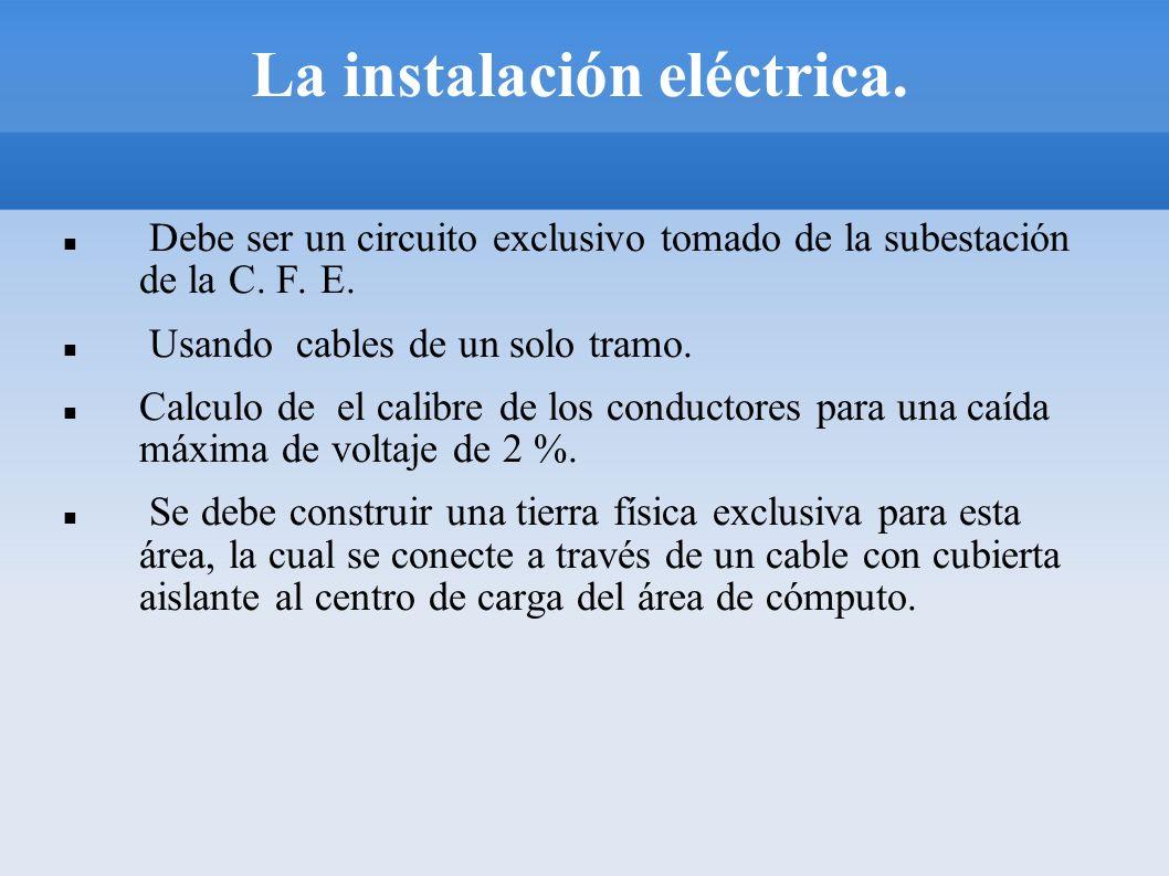 La instalación eléctrica. Debe ser un circuito exclusivo tomado de la subestación de la C. F. E. Usando cables de un solo tramo. Calculo de el calibre