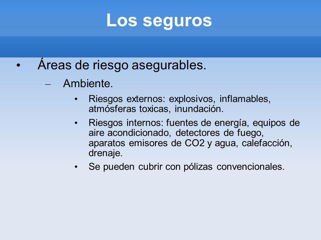 Los seguros Áreas de riesgo asegurables. – Ambiente. Riesgos externos: explosivos, inflamables, atmósferas toxicas, inundación. Riesgos internos: fuen