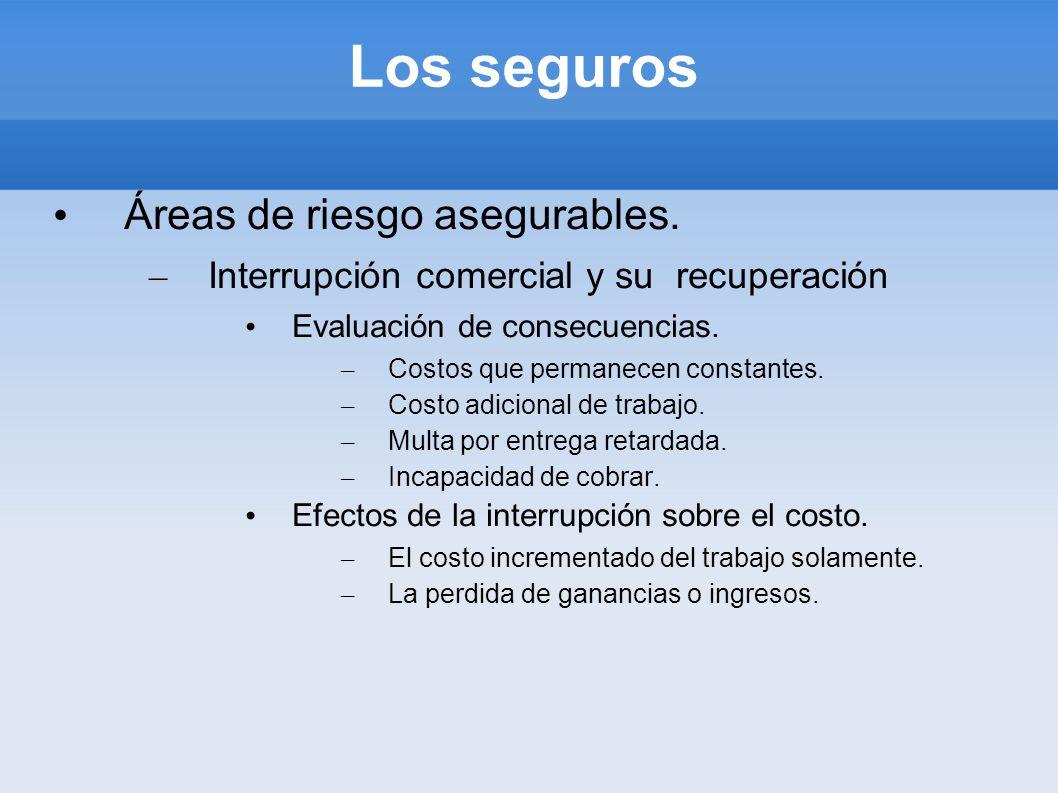 Los seguros Áreas de riesgo asegurables. – Interrupción comercial y su recuperación Evaluación de consecuencias. – Costos que permanecen constantes. –