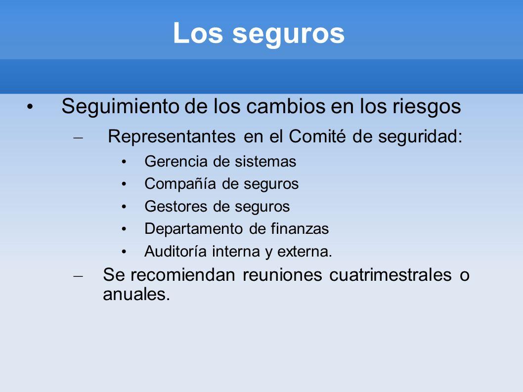 Los seguros Seguimiento de los cambios en los riesgos – Representantes en el Comité de seguridad: Gerencia de sistemas Compañía de seguros Gestores de
