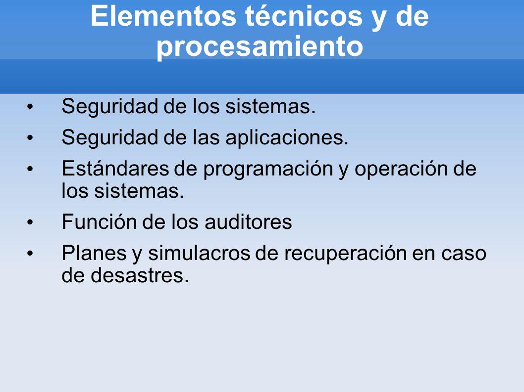 Elementos técnicos y de procesamiento Seguridad de los sistemas. Seguridad de las aplicaciones. Estándares de programación y operación de los sistemas