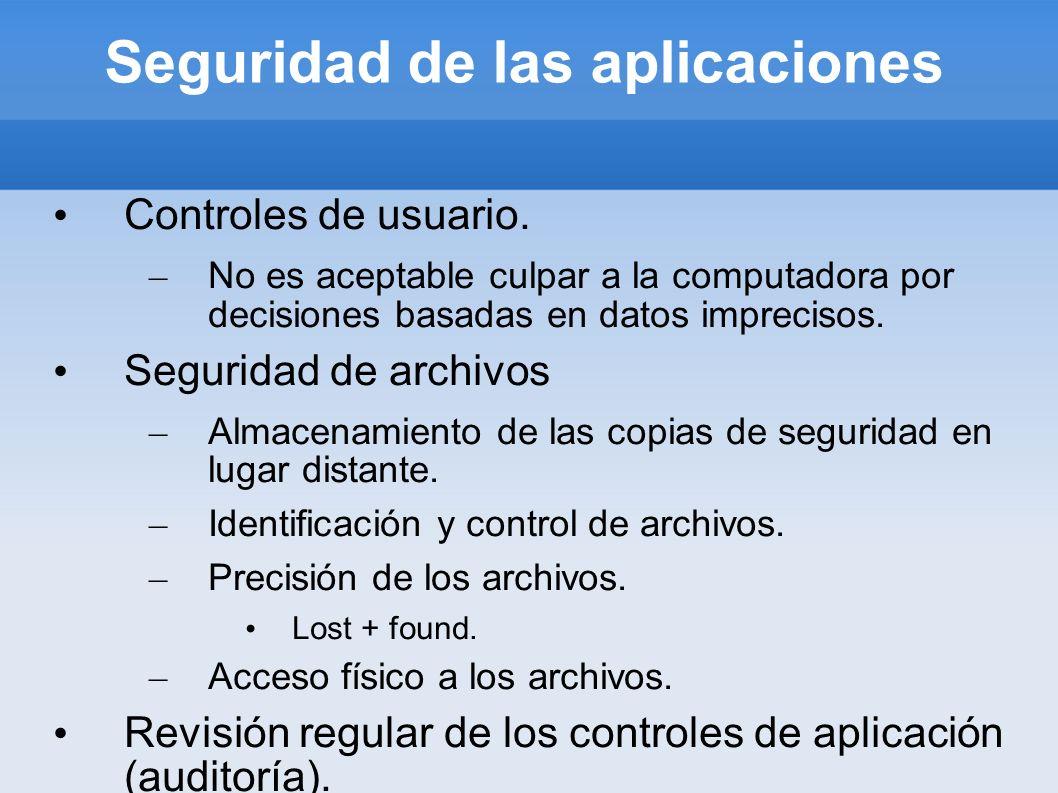Seguridad de las aplicaciones Controles de usuario. – No es aceptable culpar a la computadora por decisiones basadas en datos imprecisos. Seguridad de