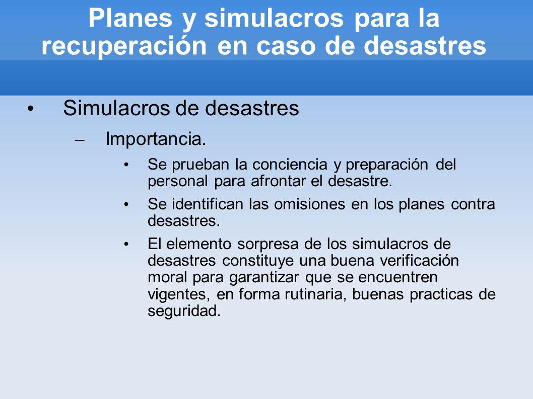 Planes y simulacros para la recuperación en caso de desastres Simulacros de desastres – Importancia. Se prueban la conciencia y preparación del person