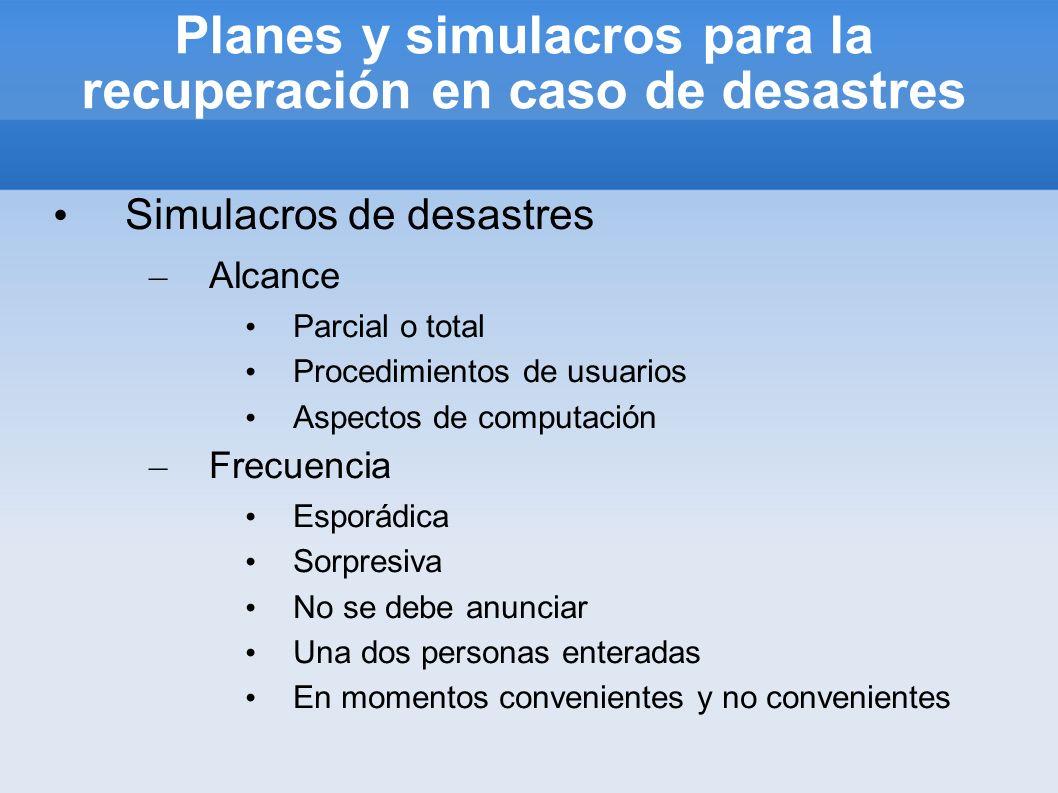 Planes y simulacros para la recuperación en caso de desastres Simulacros de desastres – Alcance Parcial o total Procedimientos de usuarios Aspectos de