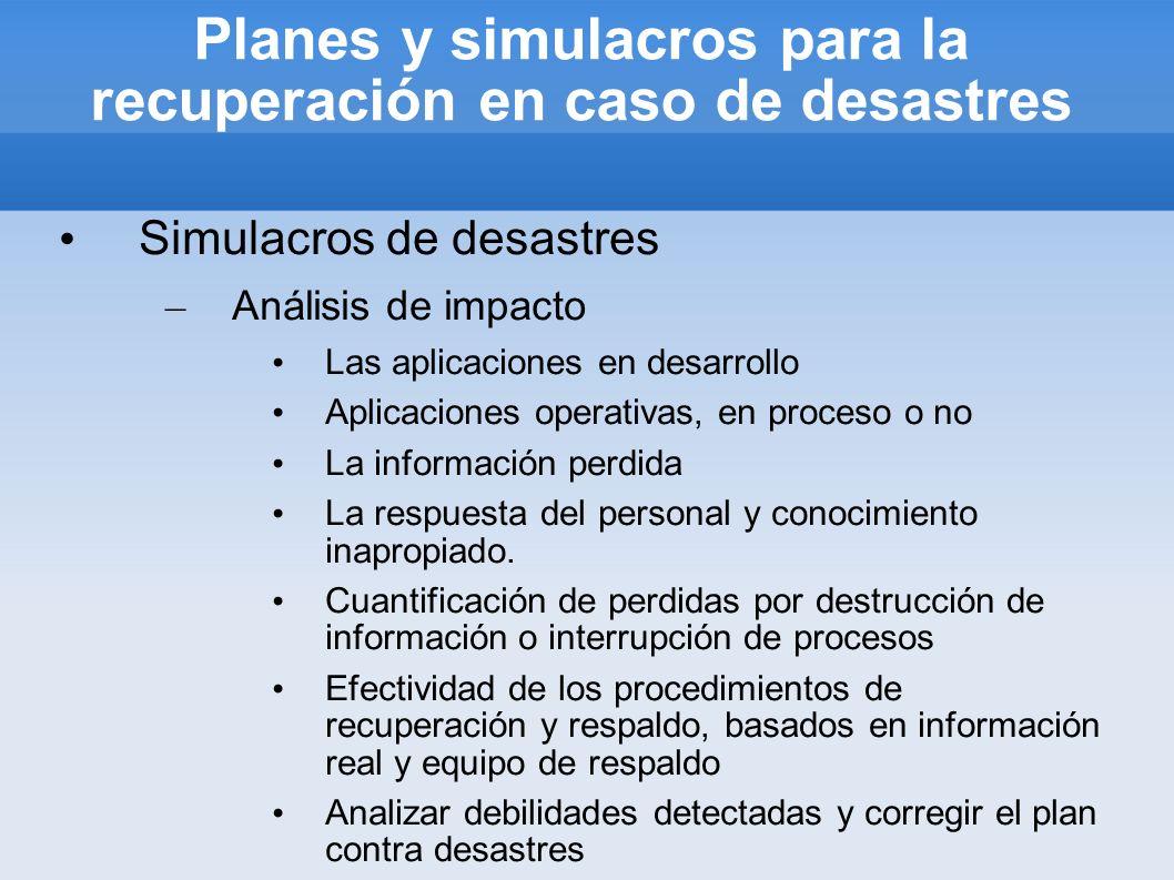 Planes y simulacros para la recuperación en caso de desastres Simulacros de desastres – Análisis de impacto Las aplicaciones en desarrollo Aplicacione