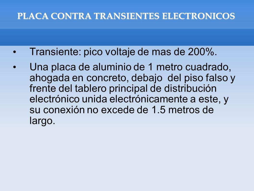 PLACA CONTRA TRANSIENTES ELECTRONICOS Transiente: pico voltaje de mas de 200%. Una placa de aluminio de 1 metro cuadrado, ahogada en concreto, debajo
