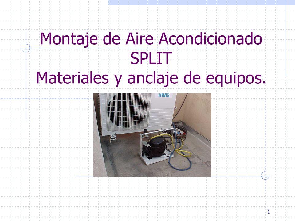 1 Montaje de Aire Acondicionado SPLIT Materiales y anclaje de equipos.