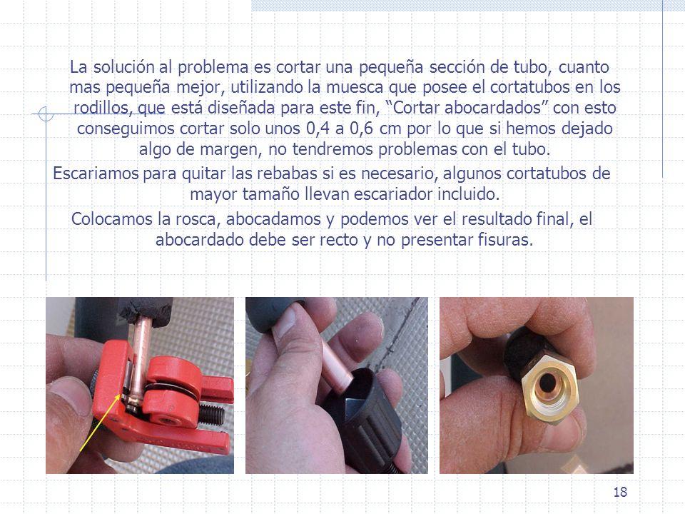 18 La solución al problema es cortar una pequeña sección de tubo, cuanto mas pequeña mejor, utilizando la muesca que posee el cortatubos en los rodill