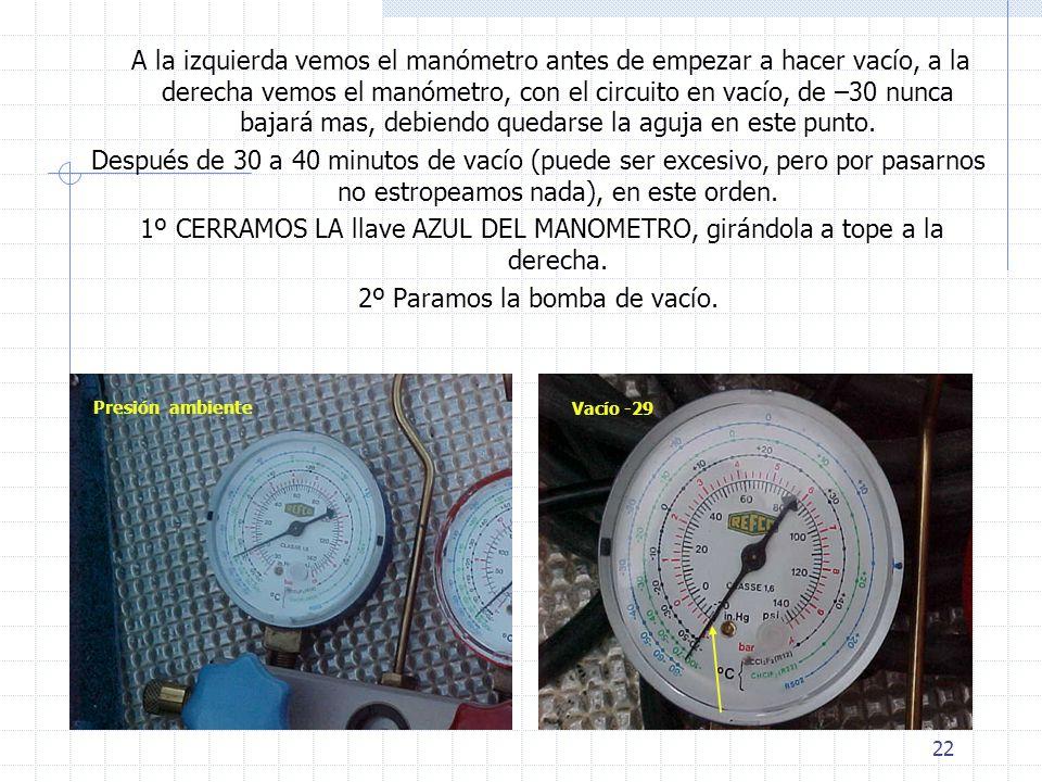 22 A la izquierda vemos el manómetro antes de empezar a hacer vacío, a la derecha vemos el manómetro, con el circuito en vacío, de –30 nunca bajará ma