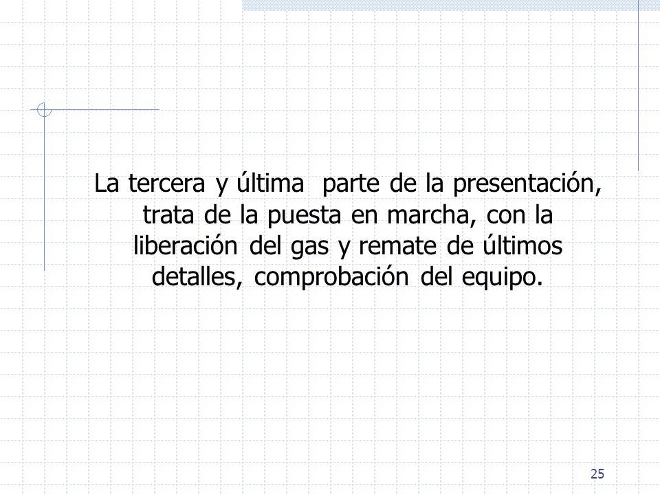 25 La tercera y última parte de la presentación, trata de la puesta en marcha, con la liberación del gas y remate de últimos detalles, comprobación de
