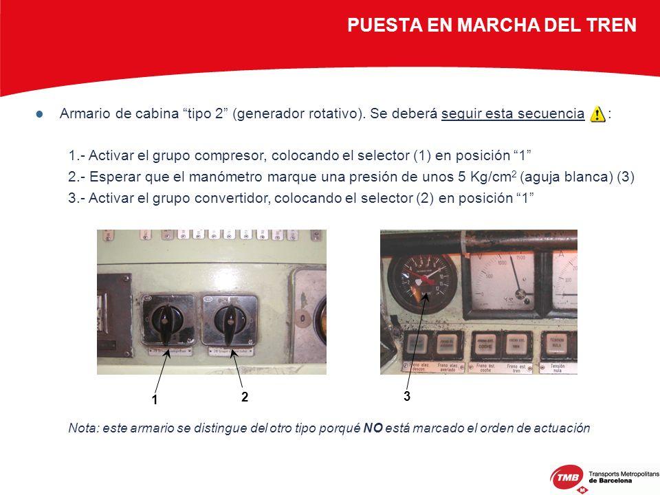 Armario de cabina tipo 2 (generador rotativo). Se deberá seguir esta secuencia : 1.- Activar el grupo compresor, colocando el selector (1) en posición