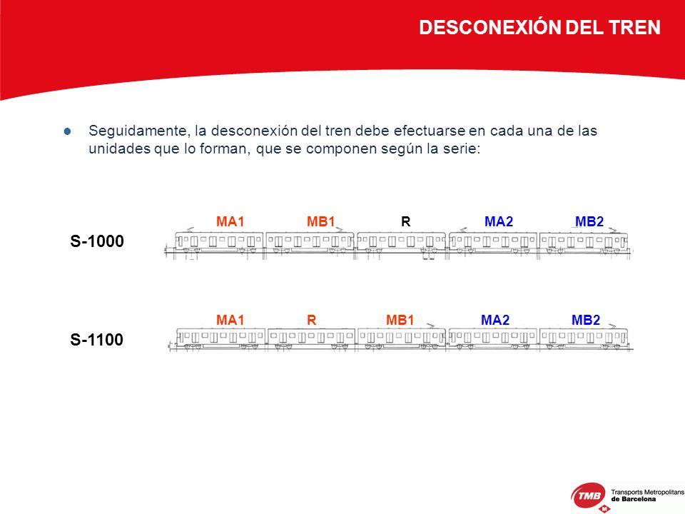 Seguidamente, la desconexión del tren debe efectuarse en cada una de las unidades que lo forman, que se componen según la serie: DESCONEXIÓN DEL TREN