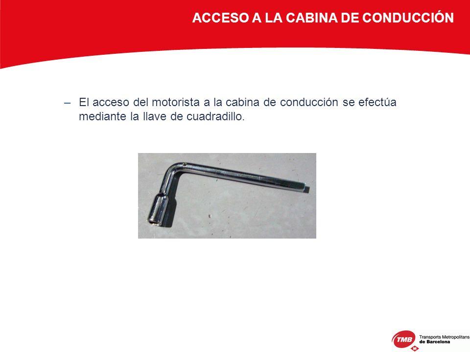 ACCESO A LA CABINA DE CONDUCCIÓN –El acceso del motorista a la cabina de conducción se efectúa mediante la llave de cuadradillo.