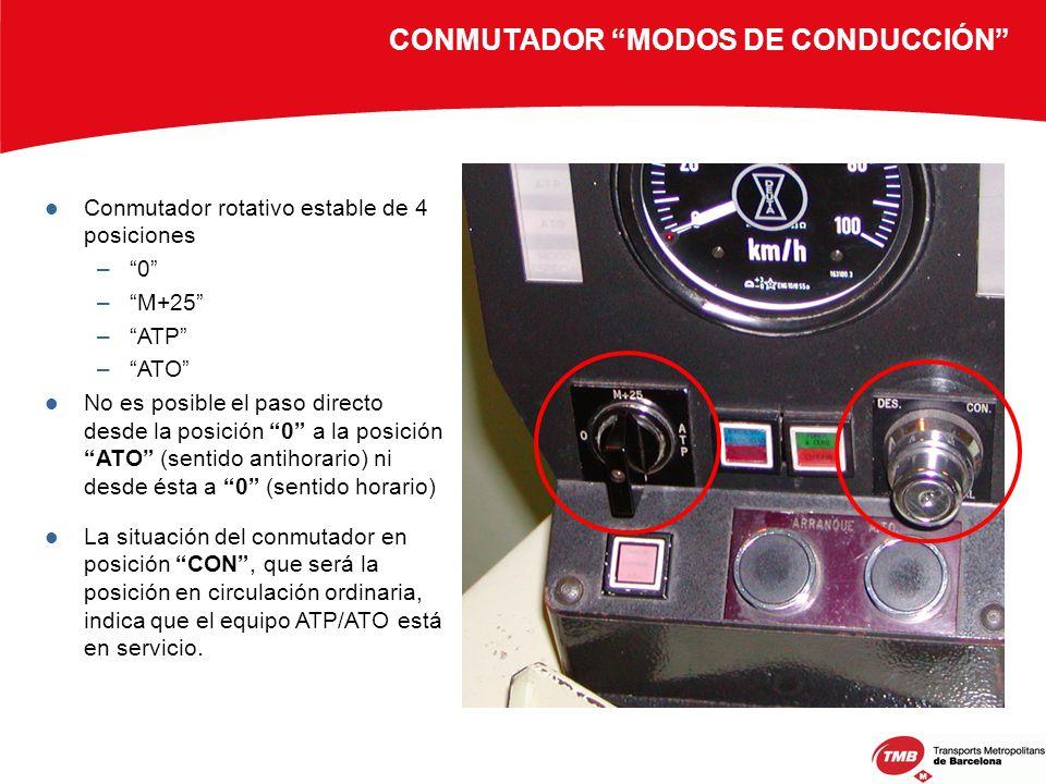 CONMUTADOR MODOS DE CONDUCCIÓN Conmutador rotativo estable de 4 posiciones –0 –M+25 –ATP –ATO No es posible el paso directo desde la posición 0 a la p