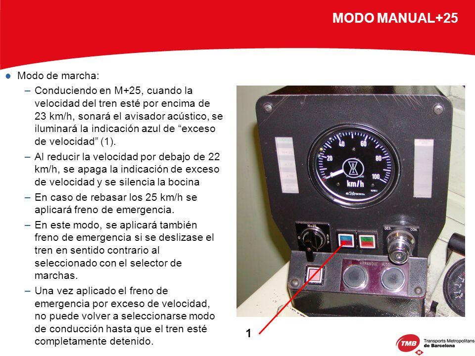 MODO MANUAL+25 Modo de marcha: –Conduciendo en M+25, cuando la velocidad del tren esté por encima de 23 km/h, sonará el avisador acústico, se iluminar