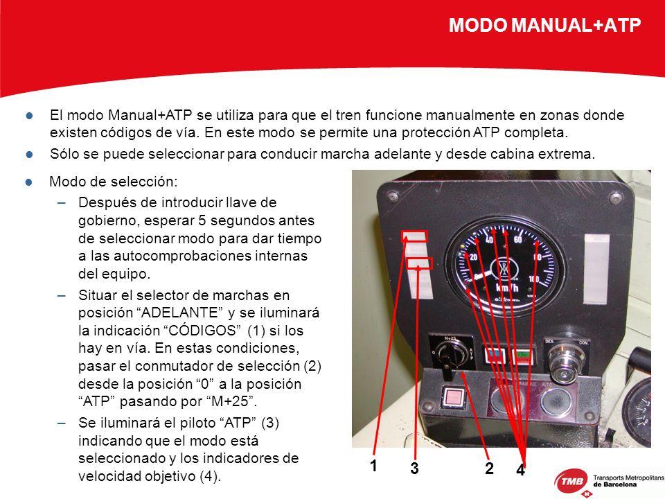 MODO MANUAL+ATP El modo Manual+ATP se utiliza para que el tren funcione manualmente en zonas donde existen códigos de vía. En este modo se permite una
