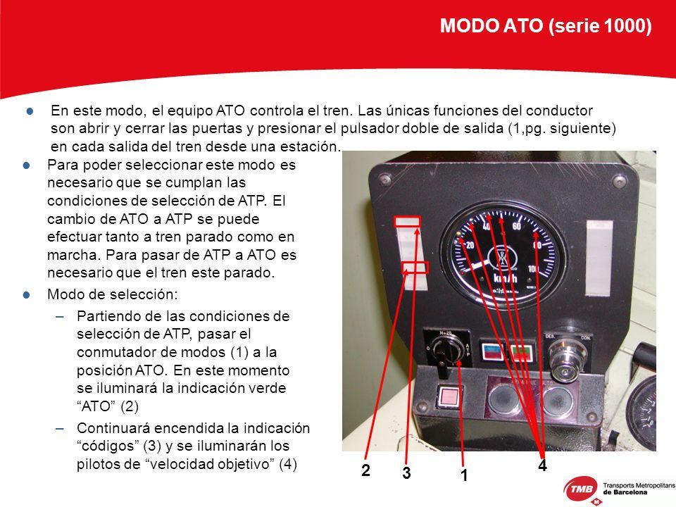 MODO ATO (serie 1000) En este modo, el equipo ATO controla el tren. Las únicas funciones del conductor son abrir y cerrar las puertas y presionar el p