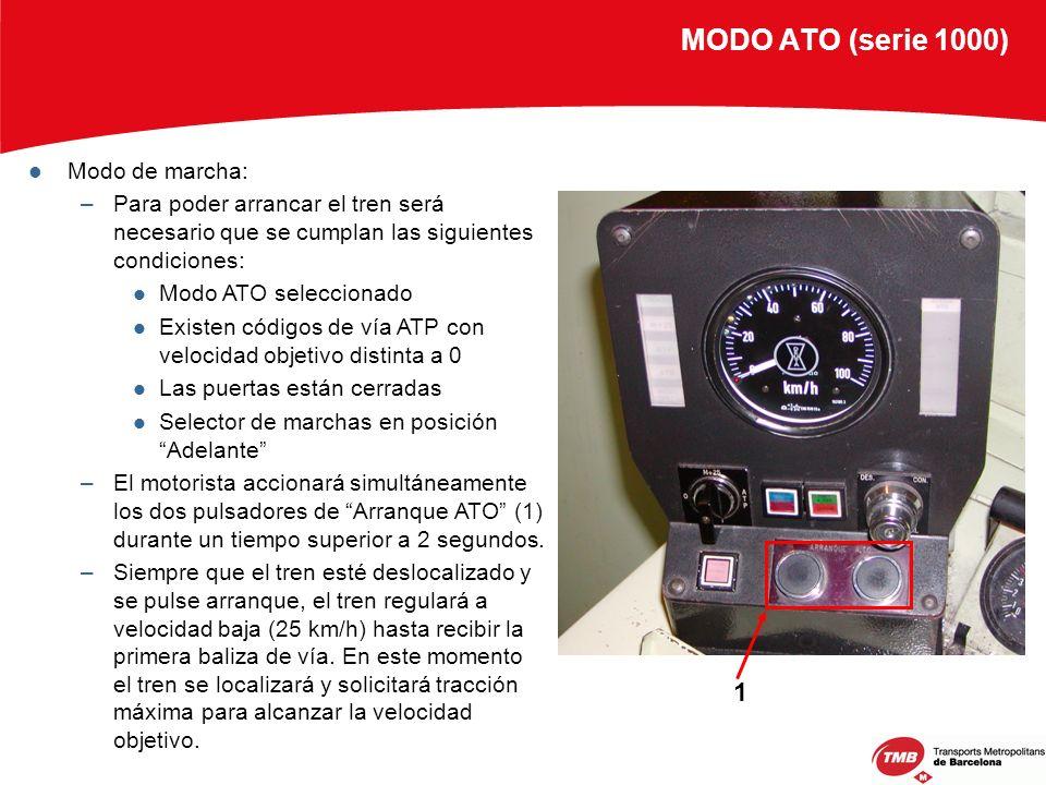 MODO ATO (serie 1000) Modo de marcha: –Para poder arrancar el tren será necesario que se cumplan las siguientes condiciones: Modo ATO seleccionado Exi
