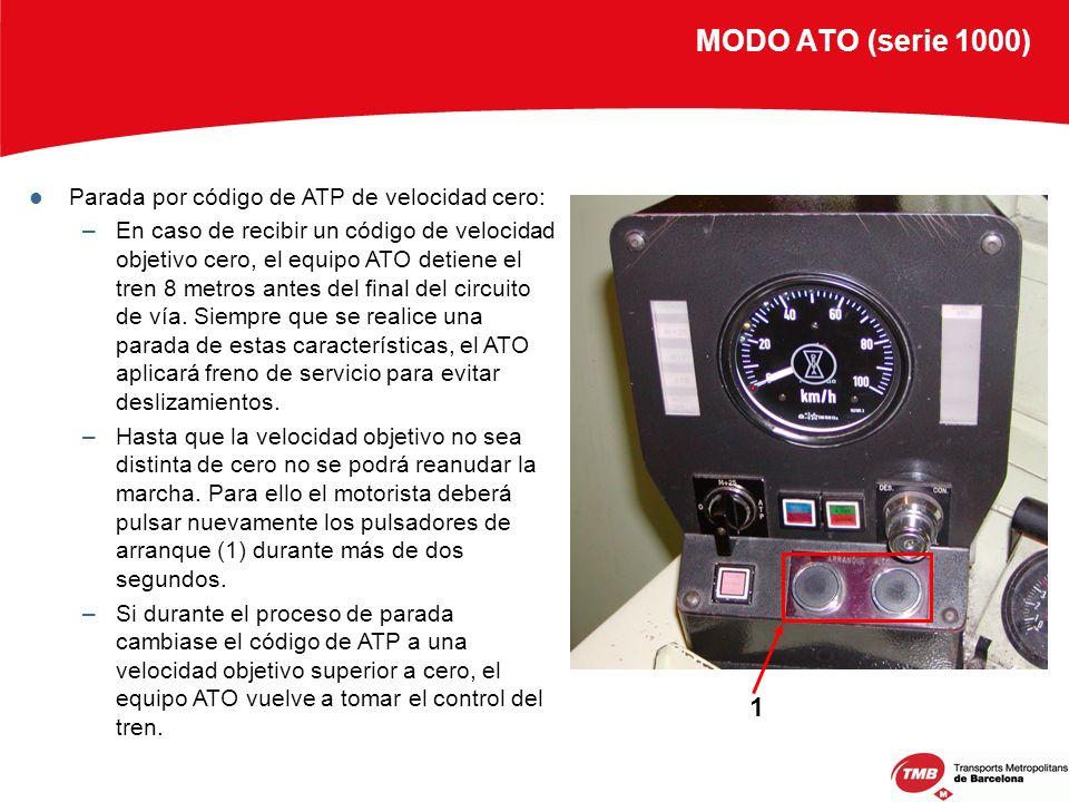 MODO ATO (serie 1000) Parada por código de ATP de velocidad cero: –En caso de recibir un código de velocidad objetivo cero, el equipo ATO detiene el t