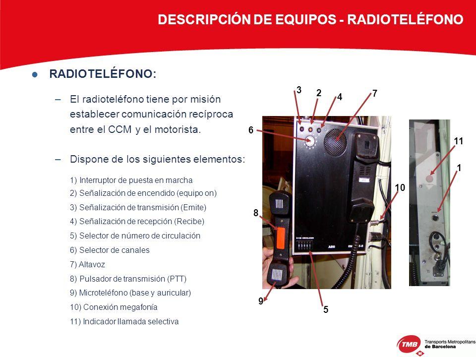 RADIOTELÉFONO: –El radioteléfono tiene por misión establecer comunicación recíproca entre el CCM y el motorista. –Dispone de los siguientes elementos: