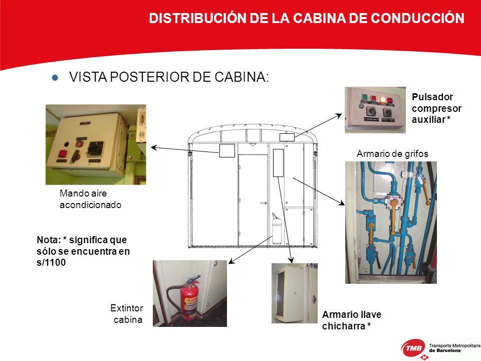 DISTRIBUCIÓN DE LA CABINA DE CONDUCCIÓN VISTA POSTERIOR DE CABINA: Mando aire acondicionado Armario de grifos Extintor cabina Pulsador compresor auxil