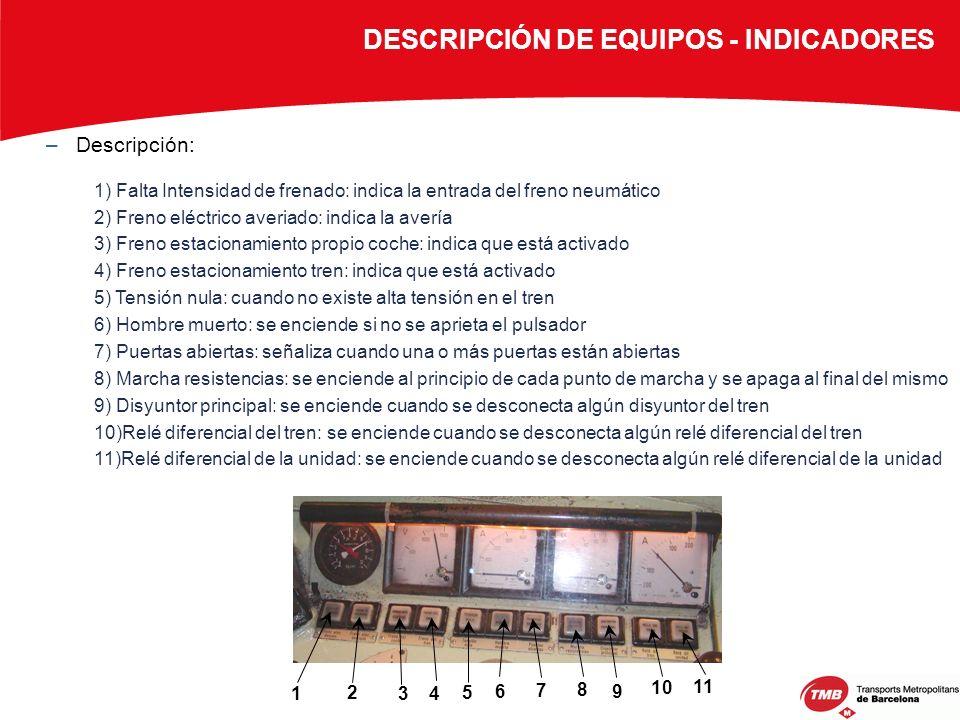 –Descripción: 1) Falta Intensidad de frenado: indica la entrada del freno neumático 2) Freno eléctrico averiado: indica la avería 3) Freno estacionami