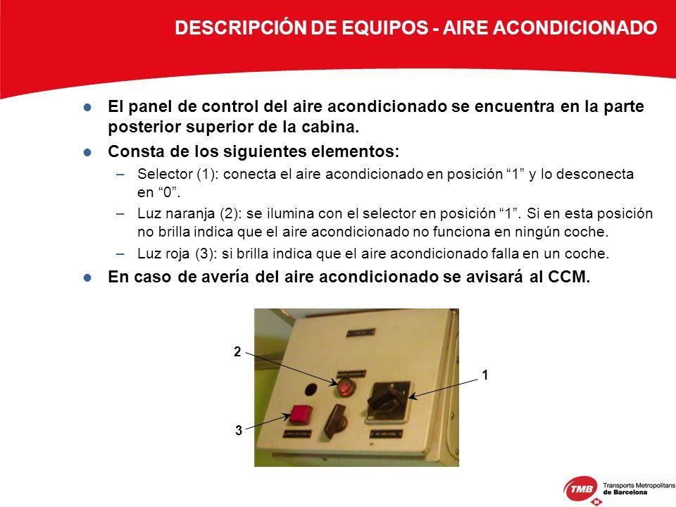 El panel de control del aire acondicionado se encuentra en la parte posterior superior de la cabina. Consta de los siguientes elementos: –Selector (1)