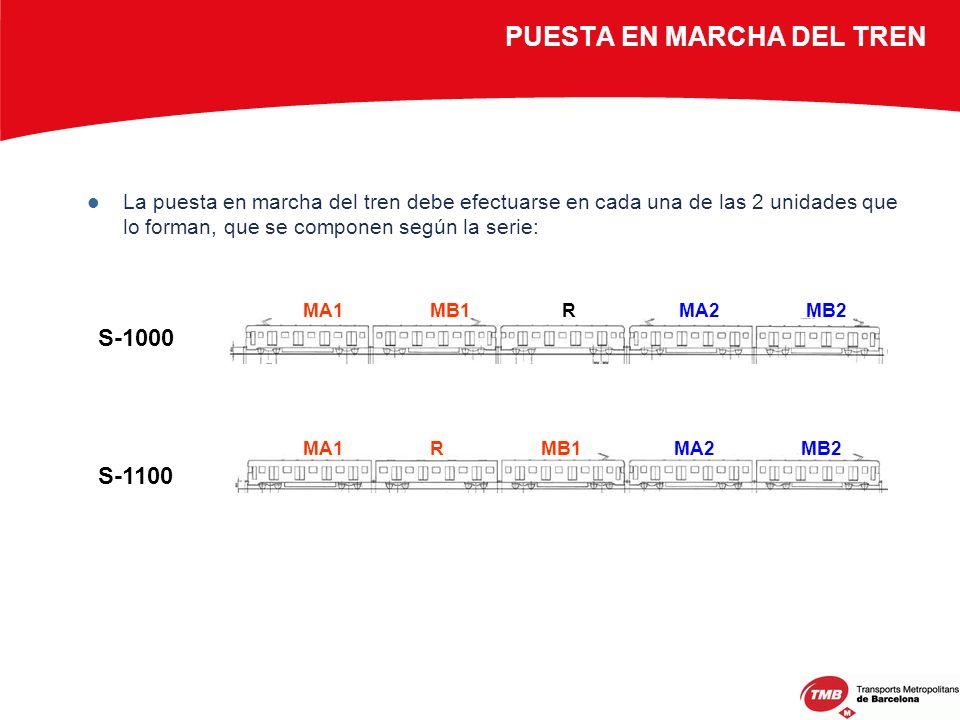 PUESTA EN MARCHA DEL TREN La puesta en marcha del tren debe efectuarse en cada una de las 2 unidades que lo forman, que se componen según la serie: S-