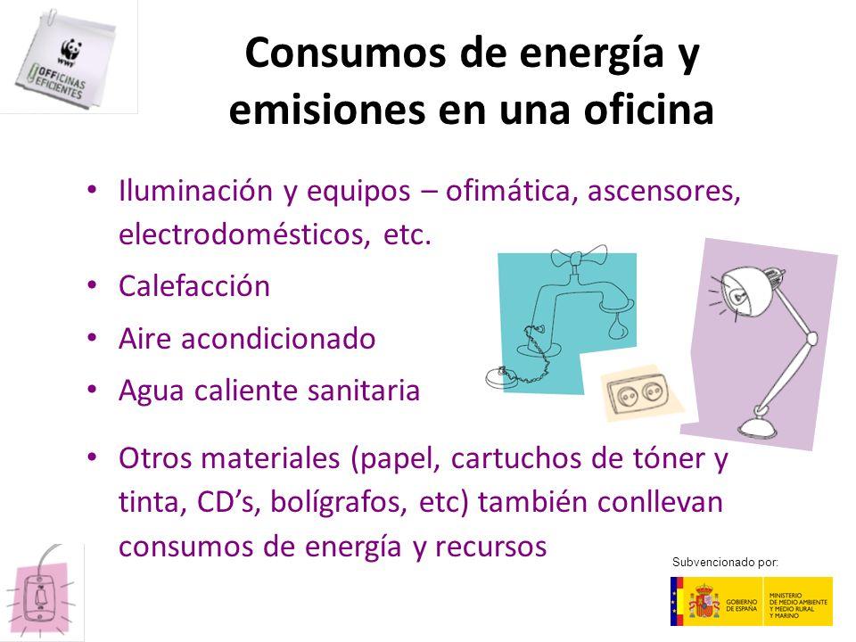 Consumos de energía y emisiones en una oficina Iluminación y equipos – ofimática, ascensores, electrodomésticos, etc. Calefacción Aire acondicionado A