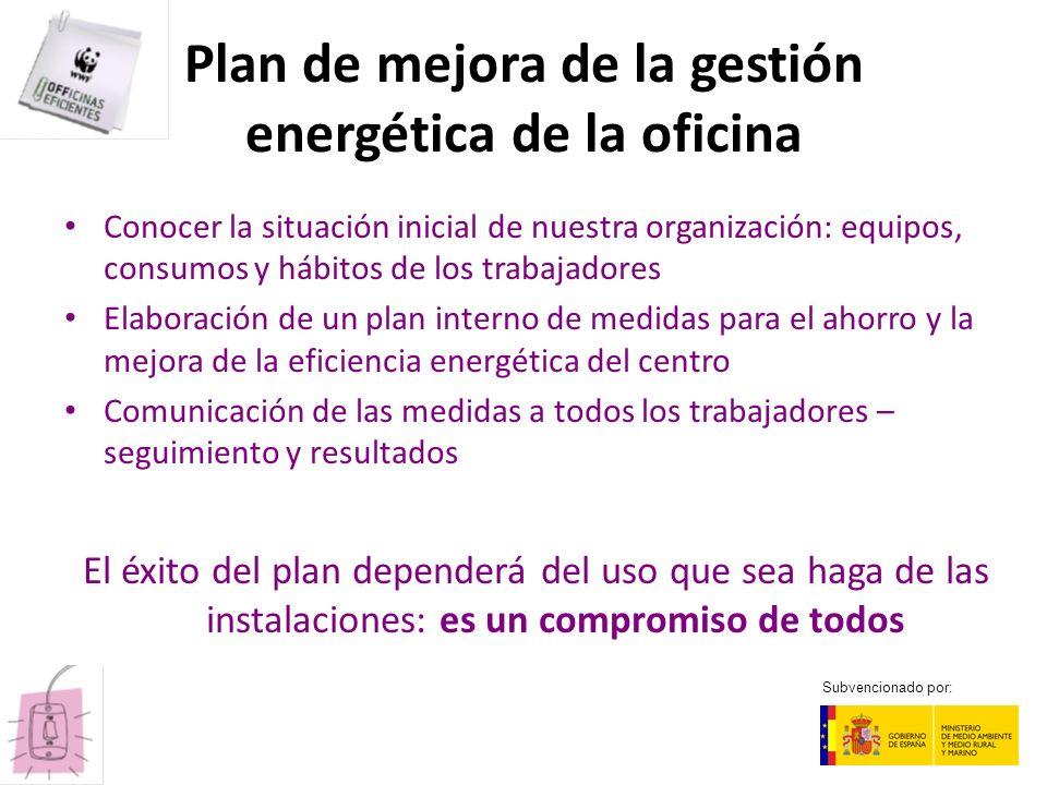 Plan de mejora de la gestión energética de la oficina Conocer la situación inicial de nuestra organización: equipos, consumos y hábitos de los trabaja