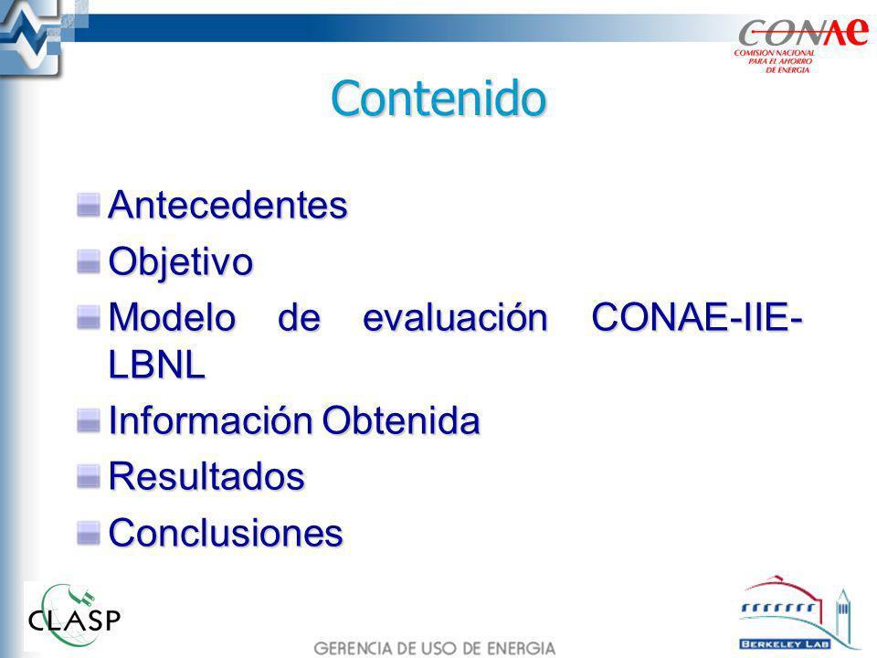 Antecedentes En el programa de normalización, desarrollado por la CONAE, el IIE ha participado en los estudios técnicos, económicos y en el desarrollo de la metodología de evaluación del impacto energético, económico y ambiental.