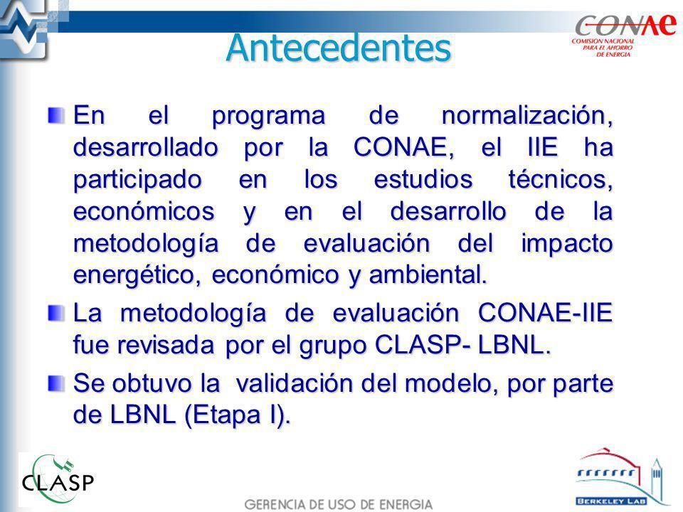 Antecedentes En el programa de normalización, desarrollado por la CONAE, el IIE ha participado en los estudios técnicos, económicos y en el desarrollo