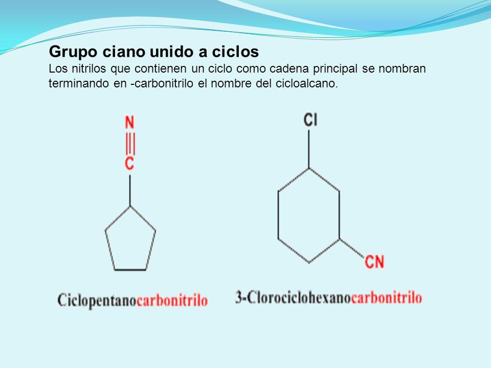 Nitrilo como sustituyente Cuando el nitrilo actúa como sustituyente se denomina ciano..........