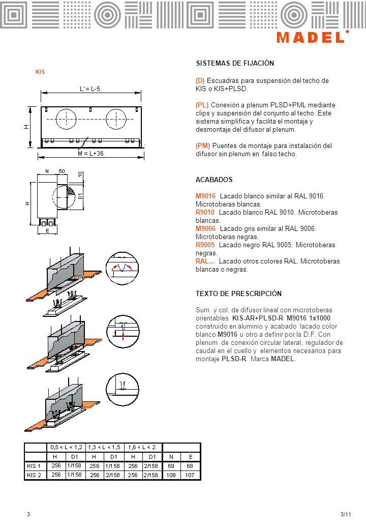 33/11 SISTEMAS DE FIJACIÓN (D) Escuadras para suspensión del techo de KIS o KIS+PLSD. (PL) Conexión a plenum PLSD+PML mediante clips y suspensión del