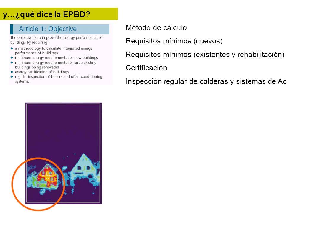 Método de cálculo Requisitos mínimos (nuevos) Requisitos mínimos (existentes y rehabilitación) Certificación Inspección regular de calderas y sistemas