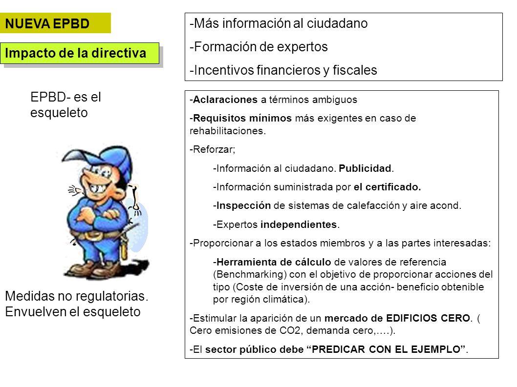 EPBD- es el esqueleto Impacto de la directiva -Más información al ciudadano -Formación de expertos -Incentivos financieros y fiscales Medidas no regul