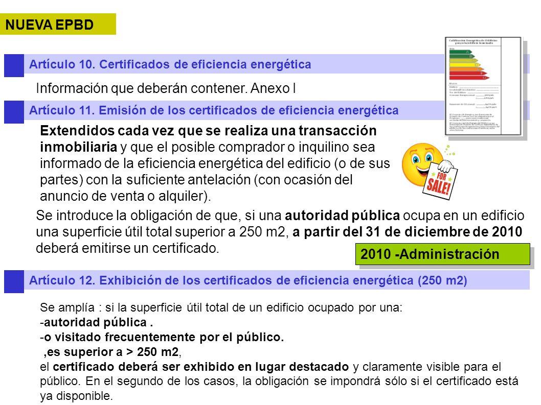 NUEVA EPBD Artículo 10. Certificados de eficiencia energética Información que deberán contener. Anexo I Artículo 11. Emisión de los certificados de ef