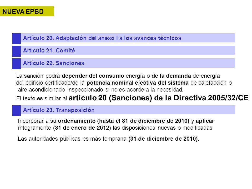 Artículo 20. Adaptación del anexo I a los avances técnicos Artículo 21. Comité Artículo 22. Sanciones La sanción podrá depender del consumo energía o