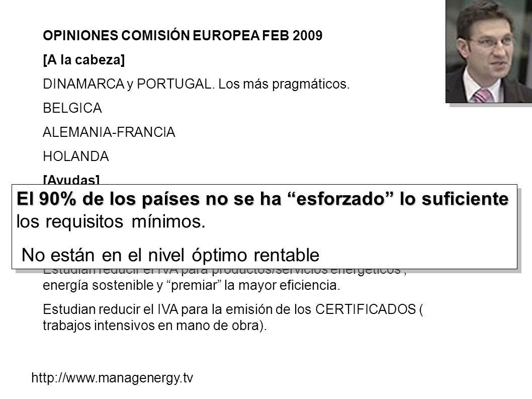 OPINIONES COMISIÓN EUROPEA FEB 2009 [A la cabeza] DINAMARCA y PORTUGAL. Los más pragmáticos. BELGICA ALEMANIA-FRANCIA HOLANDA [Ayudas] para aquellas r