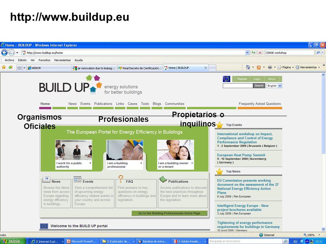 http://www.buildup.eu Organismos Oficiales Profesionales Propietarios o inquilinos