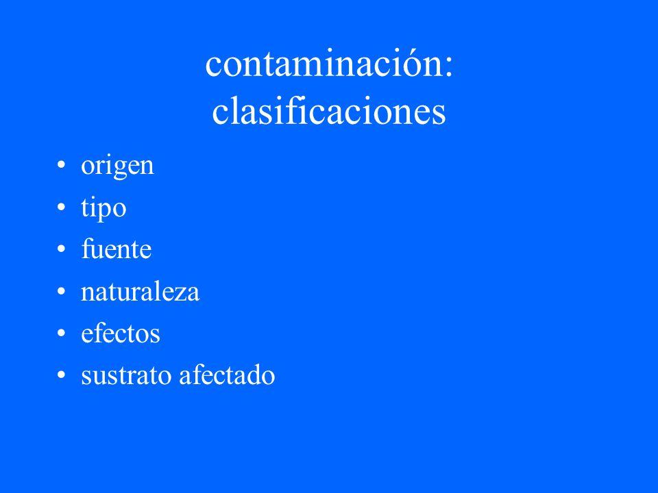 contaminación: clasificaciones origen tipo fuente naturaleza efectos sustrato afectado