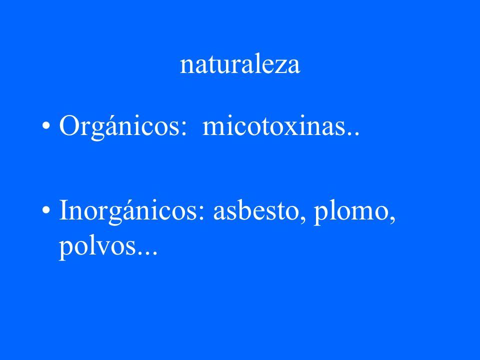 naturaleza Orgánicos: micotoxinas.. Inorgánicos: asbesto, plomo, polvos...