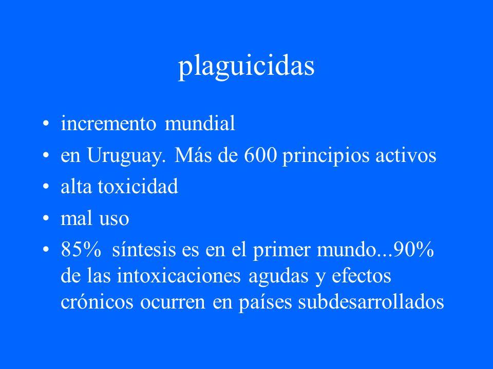 plaguicidas incremento mundial en Uruguay. Más de 600 principios activos alta toxicidad mal uso 85% síntesis es en el primer mundo...90% de las intoxi
